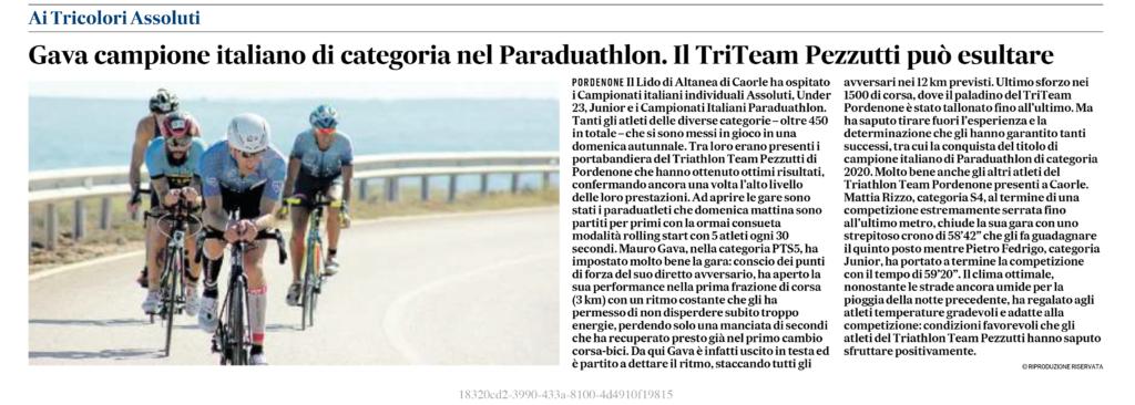 Il Gazzettino_02-11-2020_Gava campione italiano di categoria nel Paraduathlon