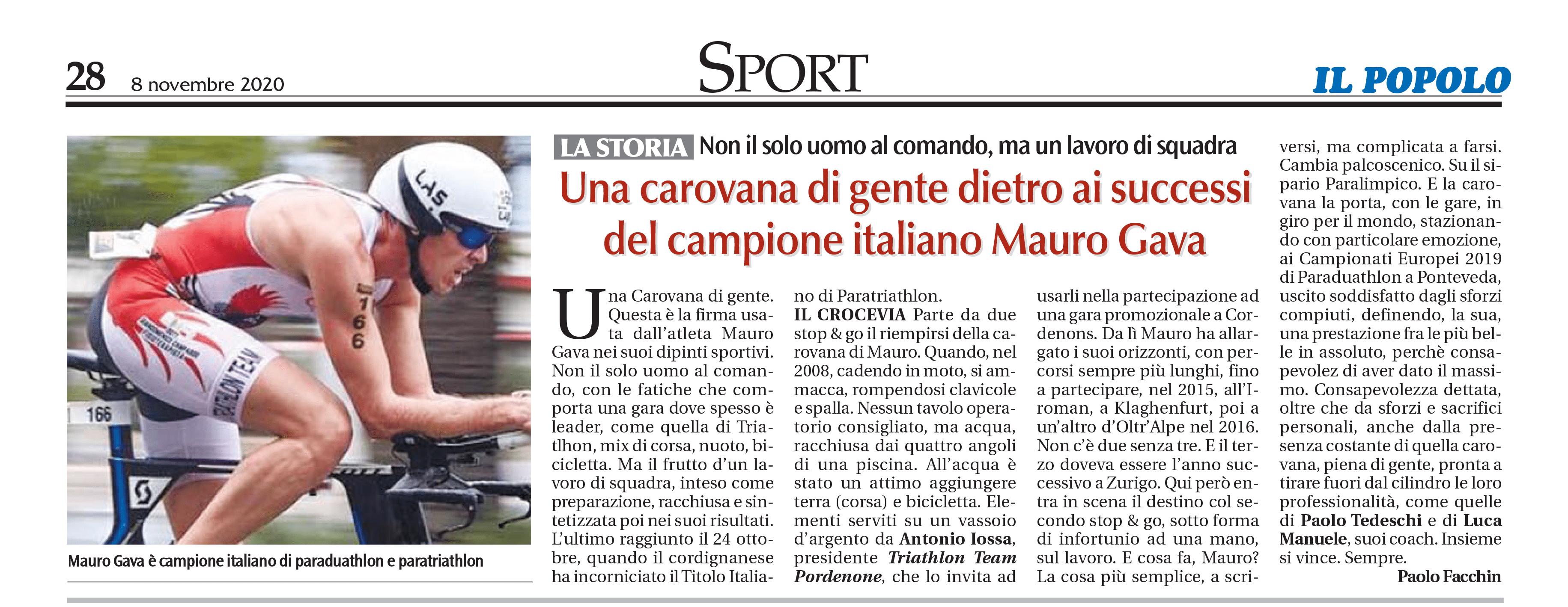 Il Popolo_05-11-2020_Una carovana di gente dietro ai successi del campione italiano Mauro Gava