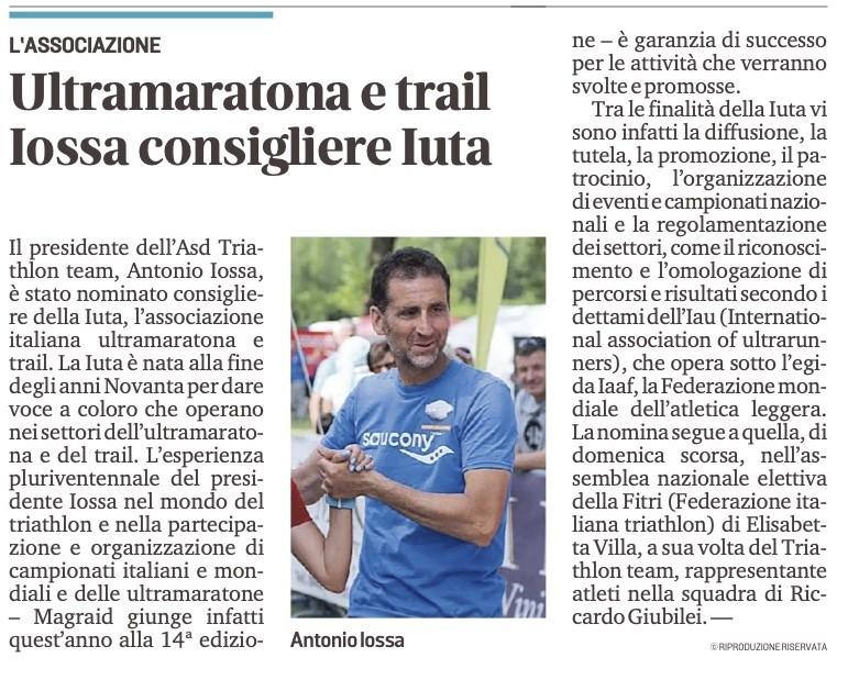 Messaggero Veneto_16-03-2021: Ultramaratona e trail Iossa consigliere IUTA