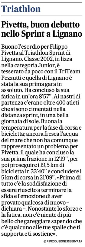 Gazzettino_05-05-2021: Pivetta, buon debutto nello Sprint a Lignano